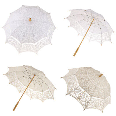 Romantic Lace Cotton Sun Umbrella Parasol Wedding Bridal Accessories White/Beige