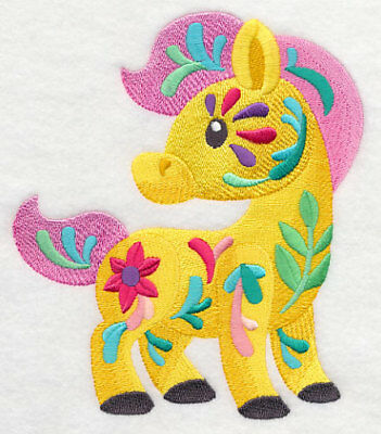 Embroidered Ladies Short-Sleeved T-Shirt - Flower Power Baby Horse M7039
