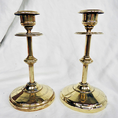 Pair of Late Victorian Bras Candlesticks - c 1880s