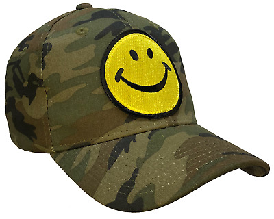 Smiley Face Hat Happy Smily Face Camouflage Ball Cap