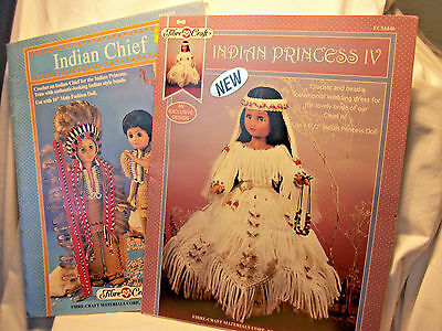 Lot of two crochet booklets for Native American doll clothes #FCM329 & FCM446