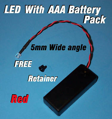 5mm LED + AAA BATTERY PACK & SWITCH RED WIDE ANGLE  (Halloween / Projects / DIY)