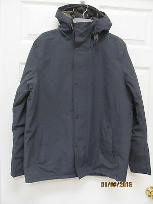 Barbour Latham Jacket Men's M w Hood Navy Poly Waterproof Breathable Washable