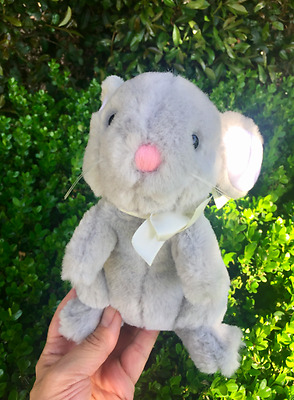 """Vintage DAKIN 1986 """"Spring Rabbit"""" Gray Bunny Stuffed Plush with Tags Never Used"""