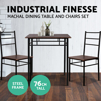 MACHAL Dining Table 2 Chairs Set Retro Industrial Metal Legs Wooden Frame Walnut