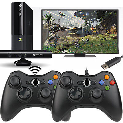 USB Wired/Wireless GamePad Controller For Microsoft Xbox360 Console & PC Black