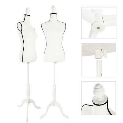 Female Mannequin Torso Dress Form Clothing Display W/White Tripod Stand