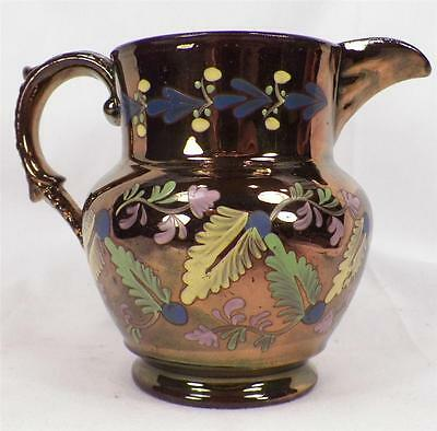 Antique Copper Luster Cream Pitcher Hand Painted Leaves Flower Soft Paste Beauty