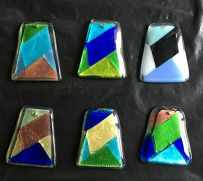 Trapezoidal colors blown lampwork murano glass pendants jewelry  for Necklace