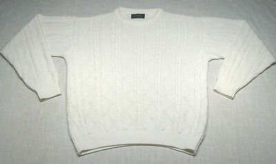 Vintage CHRISTIAN DIOR Cable Knit Fisherman Sweater (80s) White PREPPY! WOW! L