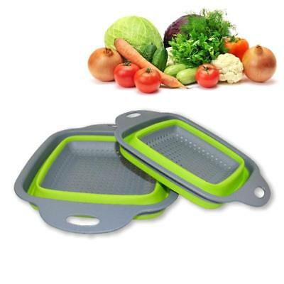 Silicone Collapsible Colander Kitchen Fruit Vegetable Square Basket Strainer Set