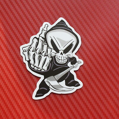 Death Skull Middle Finger car  Auto Vinyl Decal Funny Auto Body Decor Sticker S