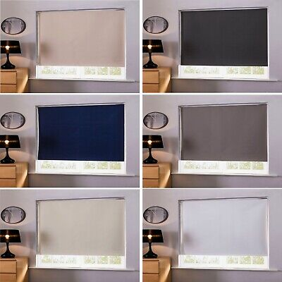 Easy Fit & Fix Light Reducing Thermal Blackout Roller Blinds Window Fabric Blind