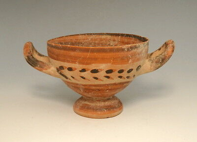 Greek Messapian Terracotta Stemmed Skyphos (L541)