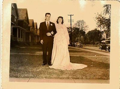 Old Antique Vintage Photograph Wedding Bride & Groom Standing in Front of House