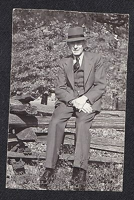 Old Antique Vintage Photograph Older Man in Suit & Cool Hat Sitting on Fence