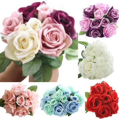 9 Head Artificial Fake Rose Silk Flowers Wedding Party Bridal Bouquet Home Decor