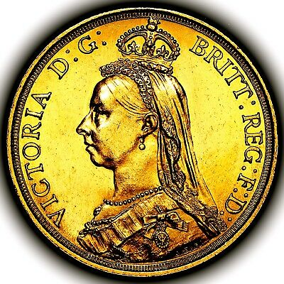 1887 Queen Victoria Great Britain Two Pounds Double Sovereign £2 Coin