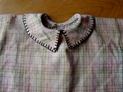 """EARLY VINTAGE PRIMITIVE DOLL DRESS FOR LARGER DOLL ~ COTTON PLAID 17"""" length"""