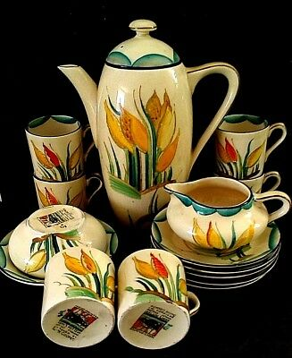 susie cooper tulips coffee set for six