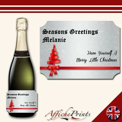 L82 Personalised Champagne Silver Christmas Brut Bottle Label Perfect Gift!
