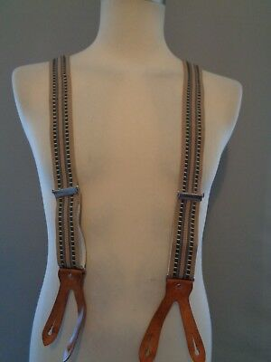 Vtg 40s lk WW2 style 50s striped checked & tan leather suspenders braces