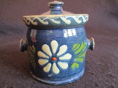 VICTORIAN TORQUAY ALLER VALE PRESERVE JAR with LID c.1885