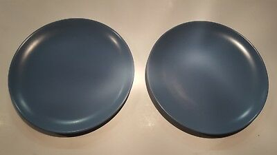 "Lot of 2 CATALINA Pottery California BLUE 9.25"" Luncheon Plates"