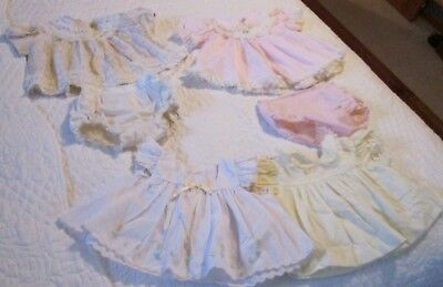 Vintage Baby 1960s   Cotton Summer Spring  Dress LOT w/bloomers Lace Ruffled