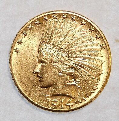 BARGAIN 1914-D GOLD Indian Head Eagle $10 Coin ALMOST UNCIRCULATED