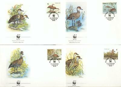 Bahamas set on 4 FDC whistling duck goose Gans WWF eh49