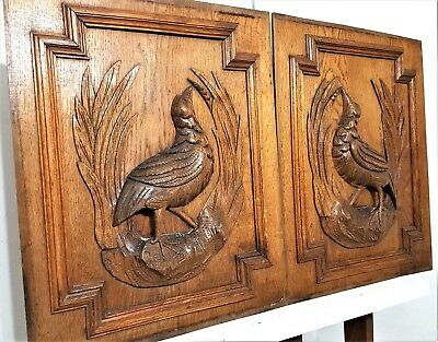 Hand Carved Wood Panel Pair Antique French Hunting Scene Architectural Salvage