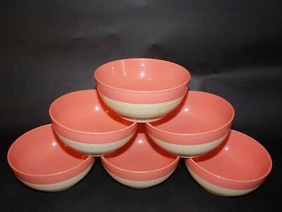 Vintage Lot 6 Raffiaware Thermo Temp Cereal Soup Bowls Salmon Pink EUC