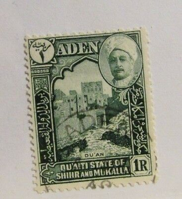 ADEN, QU'AITI STATE #9 Θ used, mute cancel postage stamp,