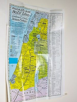 Pilgrim's Map Of The Holy Land For Biblical Research, Journey's Deeds Of Jesus