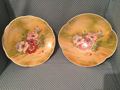 Lot of 2 stunning antique hand painted Royal Winton Grimwades Art Deco dishes.