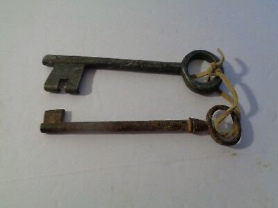Pair of Large Old Vintage Antique Skeleton Keys Original (different)
