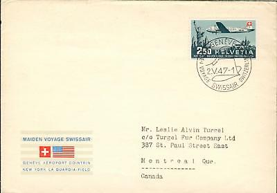 Swiss Michel Nr. 479 FDC airmail FFC from 2.5.1947 hq01
