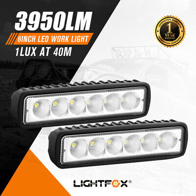 Pair 6inch 30W LED Work Light Bar Flood Reverse Fog Lights 4WD