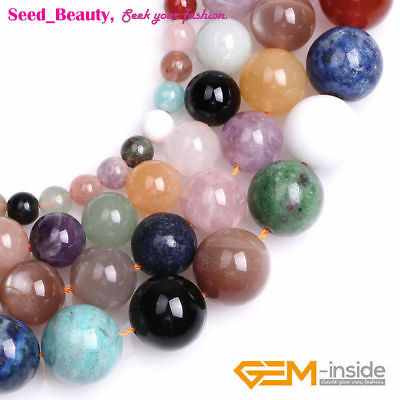 Natural Round Multi-Color Mixed Stone Spacer Loose Beads for Jewelry Making 15""