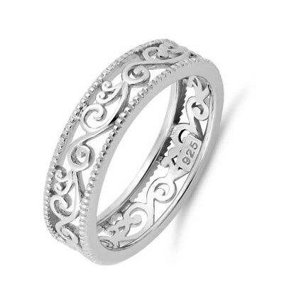 Sterling Silver .925 Women/'s CZ Vintage Antique Wedding Band Eternity Ring 4-10