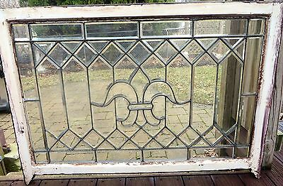 Large Antique Beveled Glass Window With Fleur De Lis Design 42 x 27 Circa c1890s
