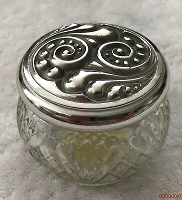 Vintage Avon RICH MOISTURE CREAM Glass Jar Silver Tone Cover Pre Owned Used