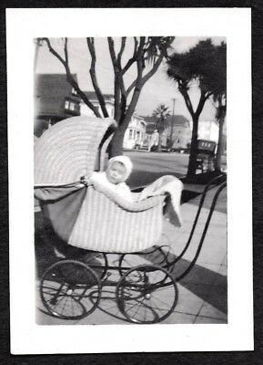 Vintage Photograph 1920's Childs Fashion Of Era Wicker Baby Carriage Old Photo