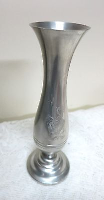 """Stieff Pewter P 131 Etched Rose Bud Vase 6 3/4"""" Tall  x 2 1/4 Wide Vintage"""