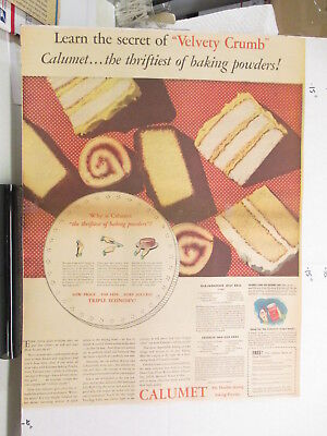 newspaper ad 1930s CALUMET baking powder velvet crumb cake American Weekly