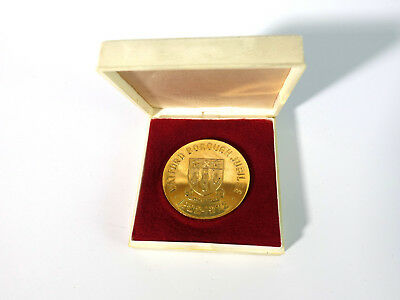 alte goldene Medaille Gold vergoldet Watford Borough Jubilee 1922-1972 Etui Box