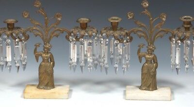 Pr Large Antique 19th c.Brass/Bronze Lustre Candelabra Candle W Prisms Girandole