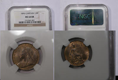 1896 Gb Victoria Farthing Ngc Ms64 Rb Ngc Price Guide=$95 Inv#314B-1
