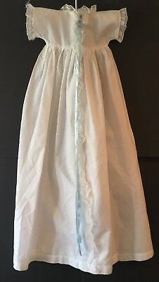 Vintage Baby Or Doll White Cotton Christening Gown Dress W Lace Ruffle & Ribbon